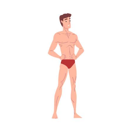 Cheerful Slender Athletic Man in Underwear Cartoon Style  Illustration on White Background