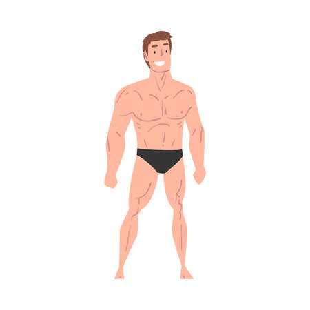 Handsome Athletic Man in Underwear, Smiling Young Man with Muscular Body Cartoon Style  Illustration on White Background Illustration