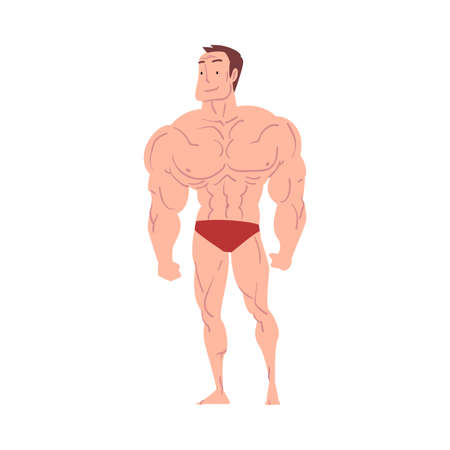 Athletic Man in Underwear, Young Man with Muscular Body Cartoon Style  Illustration on White Background