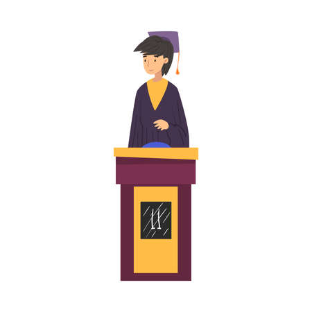 Gril Guessing Questions on Quiz Show, Young Woman Wearing Robe and Graduation Cap Answering Question on Television Conundrum Game Cartoon Style  Illustration