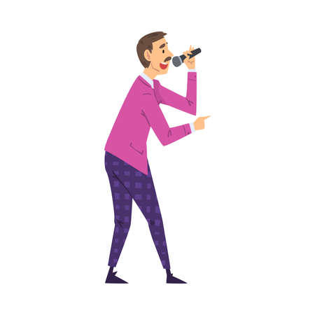 Male Presenter, TV Show Host with Microphone on Television Game Show Cartoon Style  Illustration on White Background.