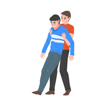 Man Carrying Unconscious Injured Person, First Aid Vector Illustration on White Background.