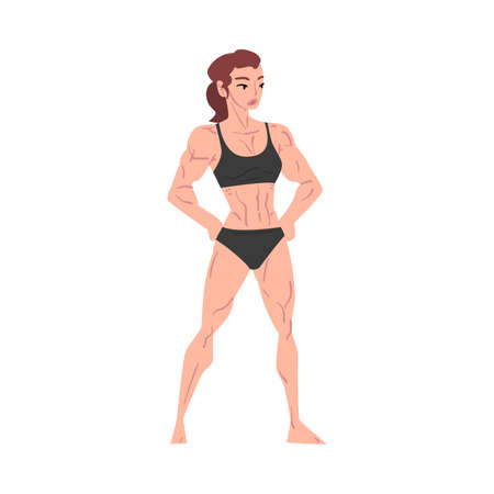 Athletic Woman in Black Underwear, Young Woman with Muscular Body Cartoon Style  Illustration on White Background