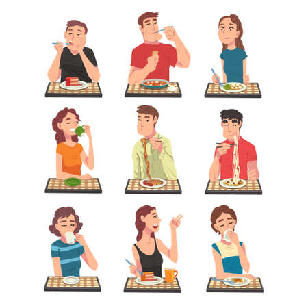 People Eating Different Meals Set, Men and Women Sitting at Tables Enjoying Eating of Delicious Food Illustration Vektorgrafik