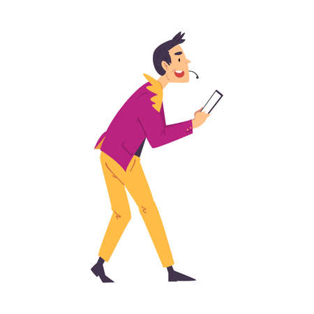 Television Game Show, Male Presenter Asking Questions to Players on Quiz Intellectual Game Cartoon Style  Illustration Illustration