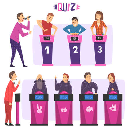 People Playing on Quiz Show Set, Participants Answering Questions on Television Conundrum Game, Presenter Asking Questions Cartoon Style Illustration