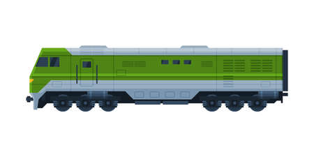 Green Train Railway Locomotive, Railroad Transportation Flat Vector Illustration on White Background