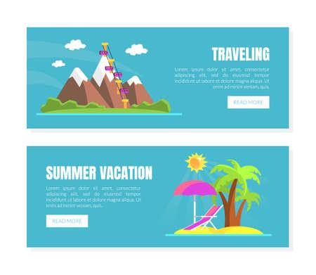 Travelling, Summer Vacation Landing Page Templates Set, Travel Agency Website Interface Vector Illustration 向量圖像