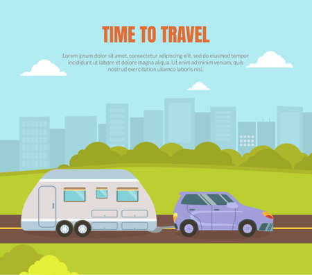Travel Van Informative Banner for Renting Vector Template Vector Illustratie