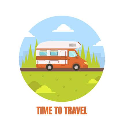 Travel Van Packed and Ready to Set Off on Journey Vector Illustration Vektorgrafik