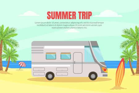Travel Van Informative Banner for Renting Vector Template