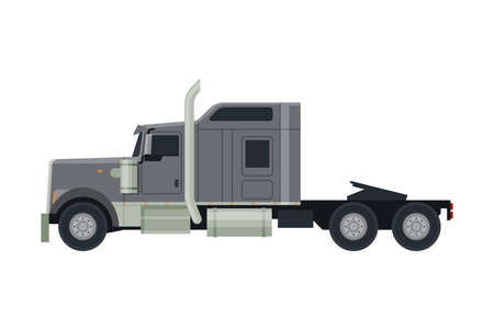 Modern Semi Truck, Cargo Delivery Gray Vehicle, Side View Flat Vector Illustration on White Background
