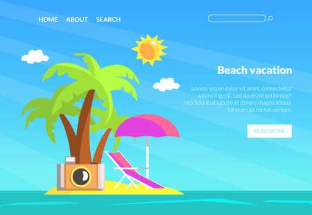 Beach Vacation Landing Page Template, Summer Travel Website Interface Vector Illustration 向量圖像
