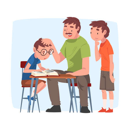 Dad Teaching his Sons, Parent Helping Children with Homework and Explaining Lesson in Textbook, Home Schooling Cartoon Vector Illustration