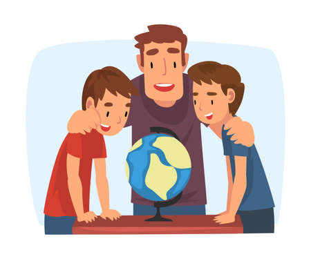 Father Teaching his Sons, Parent Helping Sons and Explaining Geography Lesson with Globe Cartoon Vector Illustration on White Background