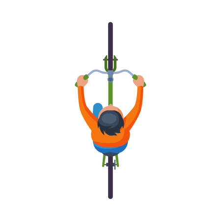 Man Riding Bike, View from Above, Cyclist on Bicycle Flat Vector Illustration