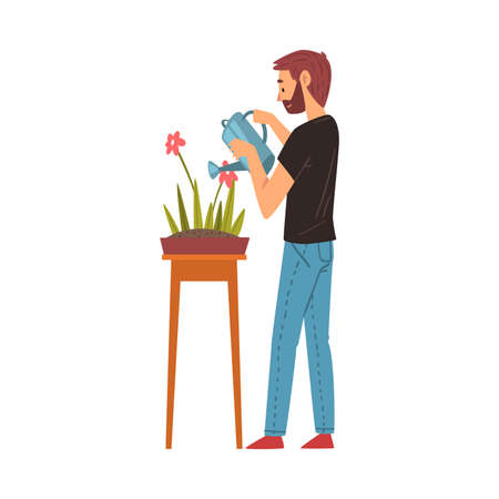 Bearded Man Watering Flower with Watering Can, Guy Enjoying Gardening Vector Illustration