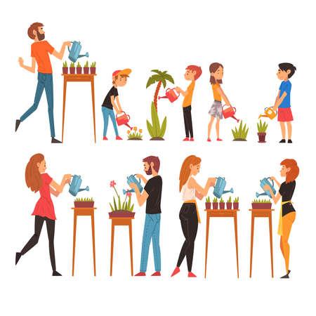 People Watering Plants Set, Men, Women and Kids Enjoying Gardening Vector Illustration