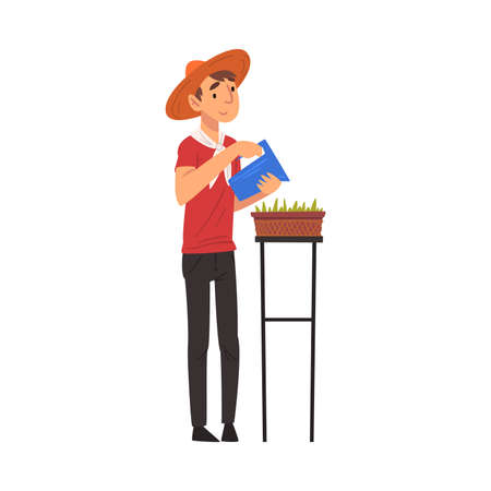 Young Man in Straw Hat Watering Seedlings with Jug, Guy Enjoying Gardening Vector Illustration 일러스트