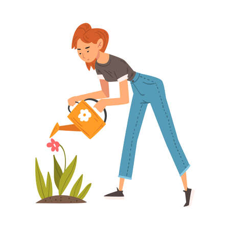 Beautiful Young Woman Watering Flowers in the Garden with Watering Can Vector Illustration