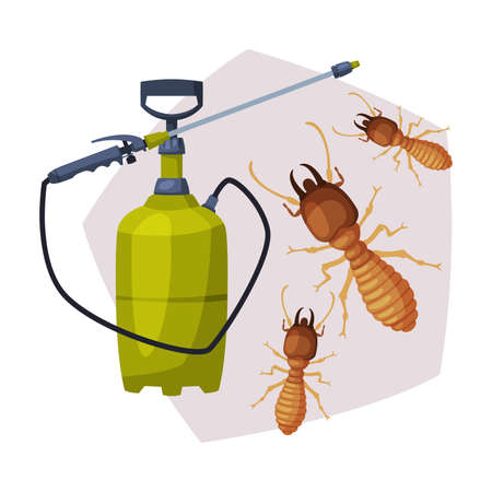Sprayer Bottle of Termite Insect Insecticide, Pest Control Service, Detecting and Exterminating Insects Vector Illustration