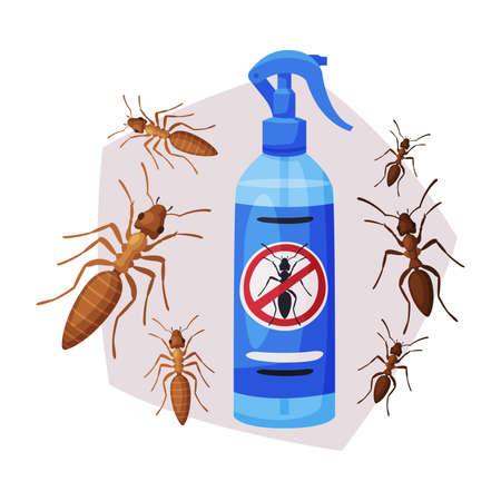 Sprayer Bottle of Ant and Termite Insecticide, Pest Control Service, Detecting and Exterminating Insects Vector Illustration