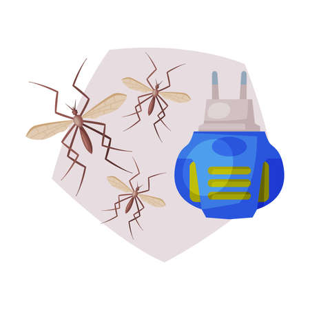 Electric Fumigator, Extermination of Mosquitoes, Pest Control Vector Illustration on White Background