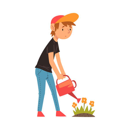 Cute Boy Watering Flowers in the Garden with Watering Can Vector Illustration