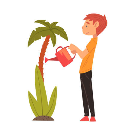 Cute Boy Watering Palm Tree in the Garden with Watering Can Vector Illustration