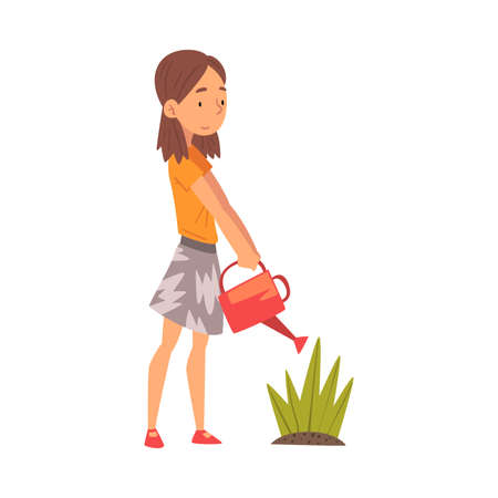 Cute Girl Watering Plants in the Garden with Watering Can Vector Illustration