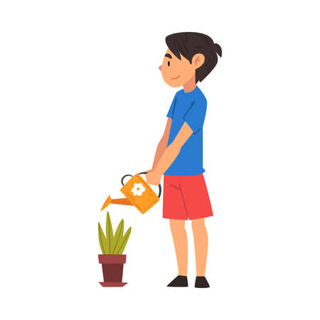 Cute Boy Watering Plant in Flower Pot with Watering Can Vector Illustration 일러스트
