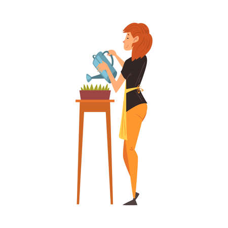 Young Woman in Apron Watering Plants with Watering Can, Girl Enjoying Gardening Vector Illustration