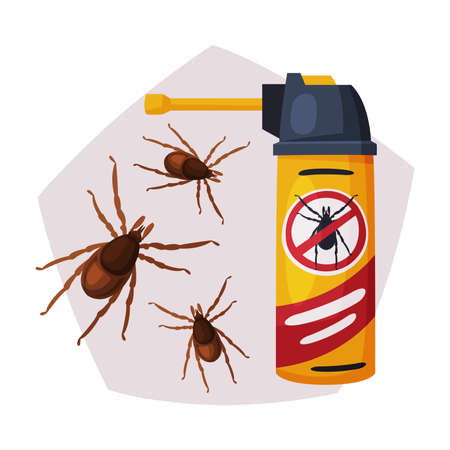 Sprayer Bottle of Mite or Tick Insecticide, Pest Control Service, Detecting and Exterminating Insects Vector Illustration