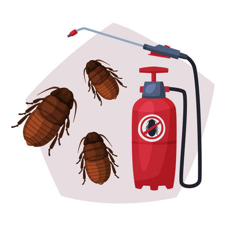 Sprayer of Black Cockroach Insecticide, Pest Control Service, Detecting and Exterminating Insects Vector Illustration