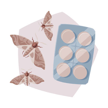 Pills Packing of Clothes Moth Insecticide, Pest Control Service, Detecting and Exterminating Insects Vector Illustration