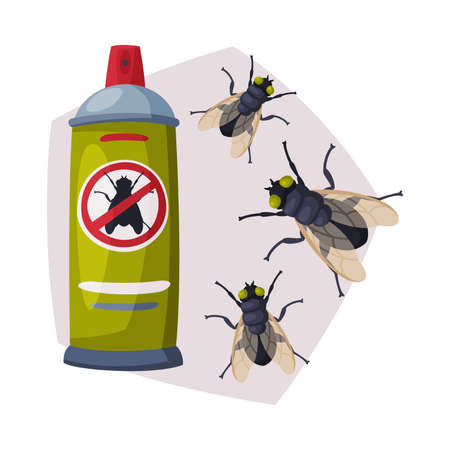 Spray Can of Fly Insect Insecticide, Pest Control Service, Detecting and Exterminating Insects Vector Illustration on White Background