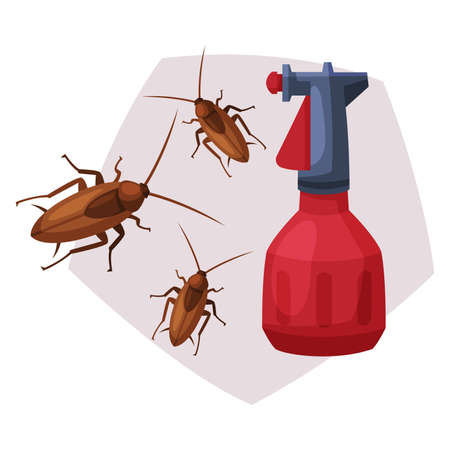 Sprayer Bottle of Cockroach Insecticide, Pest Control Service, Detecting and Exterminating Insects Vector Illustration