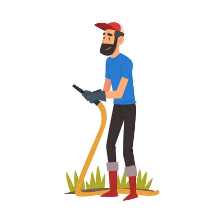 Bearded Man Watering Plants with Garden Hose, Guy Enjoying Gardening, Environmental Protection Vector Illustration 일러스트