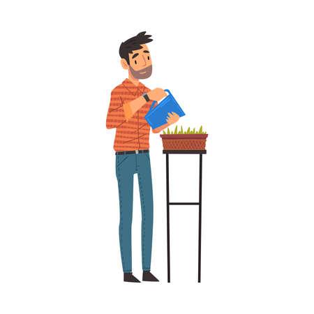 Bearded Man Watering Seedlings with Jug, Guy Enjoying Gardening Vector Illustration