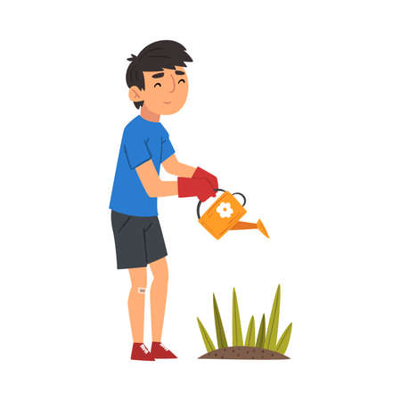 Boy in Gloves Watering Plants with Watering Can, Child Working in Garden or Farm Vector Illustration on White Background.