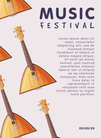 Music Festival Banner with Balalaika Traditional Russian String Musical Instrument and Place for Text, Advertisement Poster, Brochure, Flyer, Invitation Card Flat Style Vector Illustration.