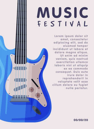 Music Festival Banner with Electric Guitar Musical Instrument and Place for Text, Advertisement Poster, Brochure, Flyer, Invitation Card Flat Style Vector Illustration. Ilustrace