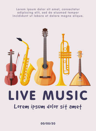 Live Music Festival Banner with Classical Musical Instruments, Advertisement Poster, Brochure, Flyer, Invitation Card Flat Style Vector Illustration.