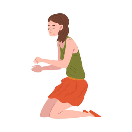 Young Woman Sitting on Her Knees with Outstretched Hands Vector Illustration Isolated on White Background.