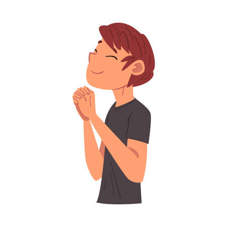 Boy Holding with Closed Eyes Standing in Prayer Pose, Smiling Relaxed Teenager Dreaming about Something Vector Illustration Isolated on White Background Vettoriali