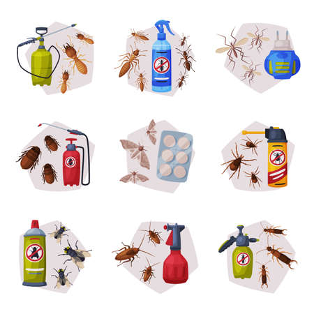 Harmful Insects Insecticides Set, Pest Control Service, Detecting and Exterminating Insects Vector Illustration Isolated on White Background.