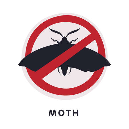 Moth Harmful Insect Prohibition Sign, Pest Control and Extermination Service Vector Illustration Isolated on White Background.
