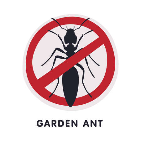 Garden Ant Harmful Insect Prohibition Sign, Pest Control and Extermination Service Vector Illustration Isolated on White Background. Ilustração