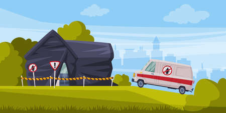 Disinfection of Suburban House, Home Pest Control Service and Exterminator Van Cartoon Vector Illustration.