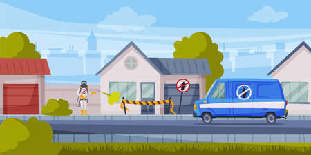 Disinfection of Suburban House, Exterminator Wearing Protection Uniform and Gas Mask Spraying with Insecticide, Home Pest Control Service Cartoon Vector Illustration.